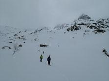 Départ à ski depuis la Pierre à Bérard