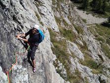 Nathalie sur le beau rocher du Mt-Chétif