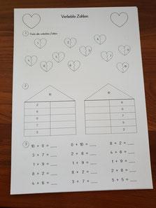 Arbeitsblatt zahlen mathe verliebte Verliebte Zahlen
