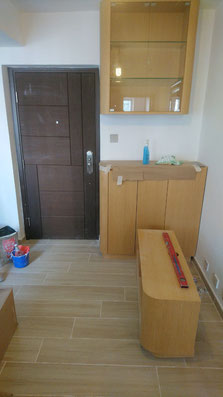 屯門裝修 - 安裝好的客廳組合櫃