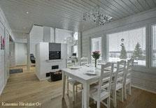 Holzhaus in Blockbauweise - Blockhaus in Weiß - Wohnzimmer mit Kamin
