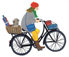 paper den - women on bike with dog