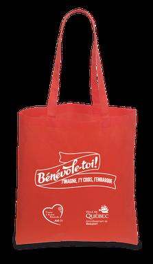 sac reutilisable rouge - Bénévole-toi! j'imagine, j'y crois, j'embarque - Arrondissement de Beauport