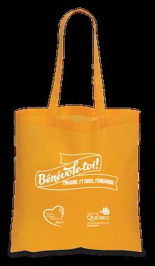 sac reutilisable orange - Bénévole-toi! j'imagine, j'y crois, j'embarque - Arrondissement de Beauport