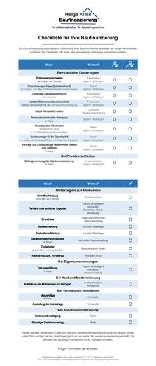 Checkliste für Ihre Baufinanzierung - Diese Unterlagen brauchen Sie
