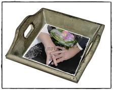 Shabby Chic Tablett mit eigenem Foto vom Brautpaar
