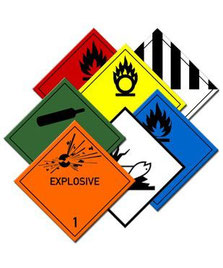 Selection of hazard labels to ensure safe handling and air shipping of dangerous goods.
