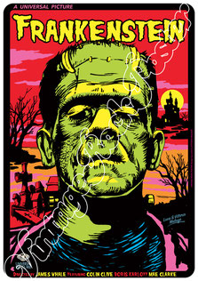 frankestein, villain, horror movie, @vintagerockposters, @tarlotoys, boris karloff, universal horror