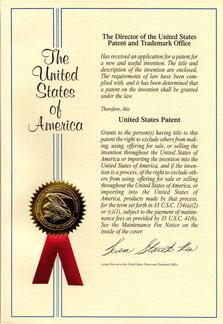 米国特許証