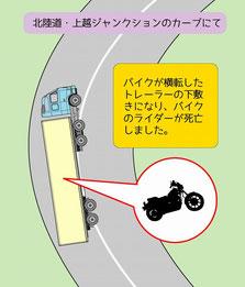 トレーラーが横転してバイク死亡