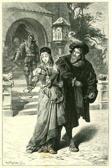 Franz Simm, Goethes Faust, Straße. M. Weber sculpsit