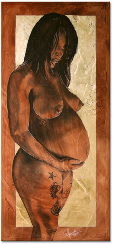 Mermaid Mother Original Maternity Portrait Painting
