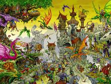 Dragonworld Drachenland Fantasy Wimmelbild Puzzle