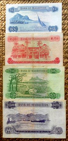 Isla Mauricio Serie de rupias 1967