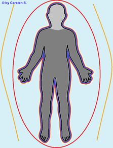Der Ähterleib hat sein Zentrum im Mittelpunkt des Gesichtes.