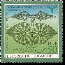 Historische Flugmodelle, von Albrecht-Ludwig Berblinger (DDR Briefmarke 1990)