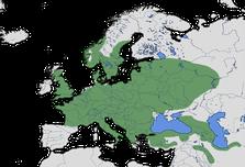 Karte zur Verbreitung des Grünspechts (Picus viridis)