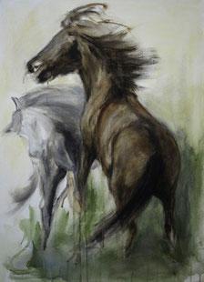 Kämpfer, Acryl auf Baumwollgewebe, 50x 70 cm, 2011