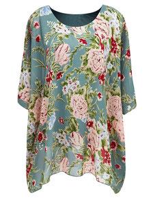 Damenbluse gemustert Gr 52 , bunte Bluse in großen Größen