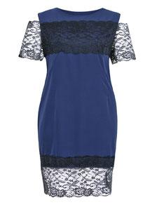 elegantes Kleid in dunkelblau mit schwarzer Spitze Gr 50