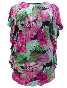 Dschungelprint T-Shirt für runde Frauen, Größe 42 bis 52