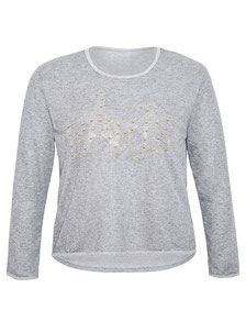 graues Damensweat mit Paris Motiv in Strass