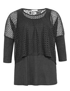 elegantes schwarzes T-Shirt für runde Frauen, Größe 42 bis 52
