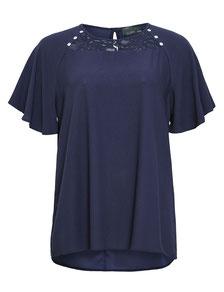 blaue Kurzarm Bluse Gr 52