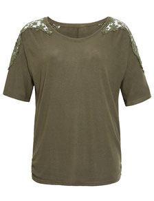 T-Shirt kaki Gr 50, elegantes Top XXL