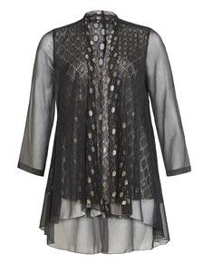 eleganter Plus Size Mantel schwarz Gr 48