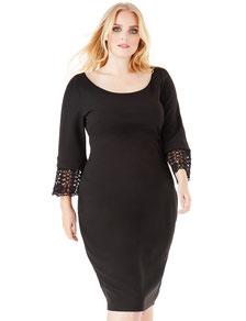 schwarzes schickes Kleid Gr 52 , elegantes schwarzes Kleid für mollige