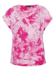 pinkes T-Shirt in Tye and Dye Muster in großen Größeno