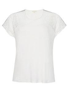 weißes Damen Tunika T-Shirt mit Kurzarm und Spitze für Übergrößen