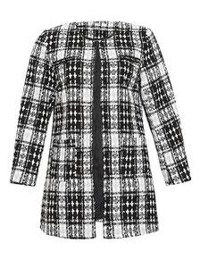 Tweed-Mantel mit gewebten Karomuster schwarz weiß Gr 48