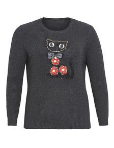 modischer Pullover schwarz mit Katze Gr 48