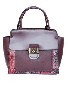 Handtasche bordeaux mit Schlangenprint günstig
