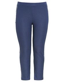 ausgefallene Damen Hose blau für Übergrößen
