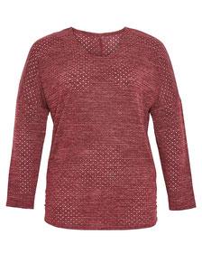 schicker Pullover bordeau für Übergrößen mit Volants