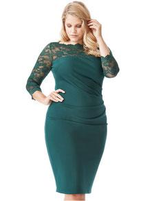 dunkelgrünes Kleid  in Größe 48