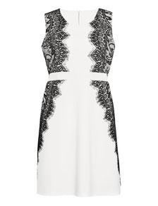 kurzes Sommerkleid für größe Größen, elegantes weißes Kleid mit schwarzer Spitze Gr 50