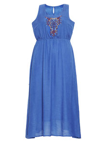 langes Bohemian Sommerkleid blau XXL