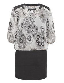 Chiffon-Kleid mit Stretchrock Gr 52