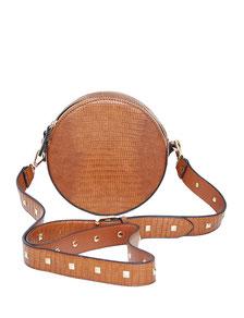 braune kleine runde Tasche