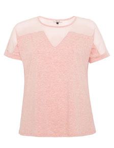 elegantes rosa T-Shirt für runde Frauen, Größe 42 bis 52