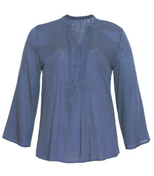 leichte Bluse blau mit weißen Punkten  bis Größe 52, Plus Size Mode