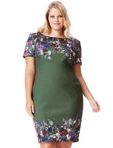 gemustertes Kleid in großen Größen, Blumenmuster Kleid grün mollig