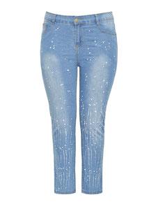 Damen Jeans mit weißen Flecken, Strech sexy Po