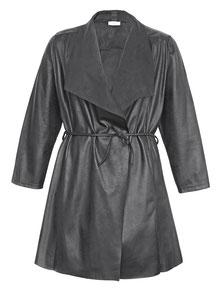 schwarzer Leder-Mantel in großen Größen