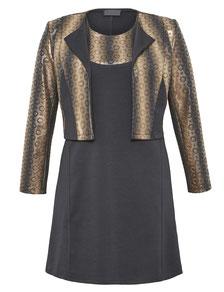 Kleid schwarz-gold mit Bolero in großen Größen