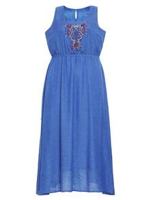 elegantes blaues Kleid in großen Größen, Layerkleid  XXL mollige Frauen